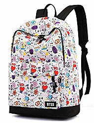 cheap -Women's Kids Oxford School Bag Rucksack Commuter Backpack Large Capacity Zipper Print Casual Traveling Outdoor Backpack White