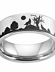 cheap -8mm width silver pipe howling wolf wolves landscape scene tungsten ring flat polished finish-free engraving inside sizes 4 to 17 (12)
