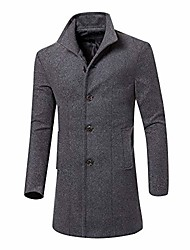 cheap -mens trench coat men casual jacket warm winter long outwear button smart overcoat clothes(xl, gray)
