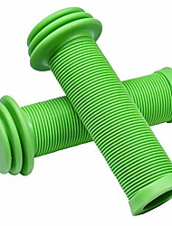 cheap -mini kids bike handlebar grips - bicycle grips with oversize bar ends for extra bump protection for scooter, balance bike replacement grips, mushroom pattern for comfortable grip (green)