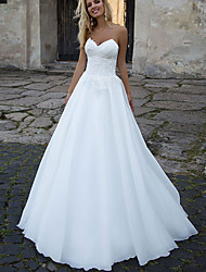 cheap -A-Line Wedding Dresses Sweetheart Neckline Sweep / Brush Train Tulle Sleeveless Country with Ruched Appliques 2021