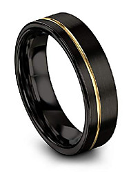 cheap -tungsten wedding band ring 6mm for men women 18k yellow gold plated flat cut off set line black brushed polished size 8.5