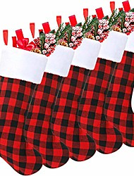 cheap -18 inch christmas stockings plaid stocking faux fur cuff stocking fireplace hanging stockings for family holiday xmas party (black red, 5 pieces)