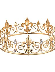cheap -Baroque large crown royal round crown headdress bridal hair accessory crown men's full round king's crown