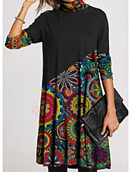 cheap -Women's Shift Dress Knee Length Dress - Long Sleeve Print Patchwork Print Spring Fall Casual Loose 2020 Black S M L XL XXL 3XL