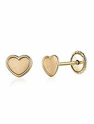 cheap -massete 14k yellow gold screwback earrings teddy bear pink for baby and children