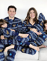 cheap -Family Look Family Matching Outfits Clothing Set Graphic Long Sleeve Print Blue Christmas