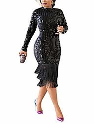 cheap -womens sexy long sleeve sequins glitter bodycon midi dress tassel hem tunic party club dress black 2xl