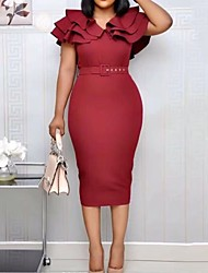 cheap -Women's Sheath Dress Knee Length Dress - Sleeveless Solid Color Ruffle Patchwork Summer Elegant Sexy Party Slim 2020 Black Yellow Wine Fuchsia S M L XL XXL 3XL