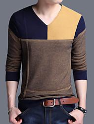 cheap -Men's Pullover Stripe Knitted Striped Color Block Geometric Basic Acrylic Fibers Long Sleeve Sweater Cardigans V Neck Fall Winter Green Orange