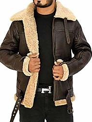 cheap -men's winter raf b3 real sheepskin shearling flight pilot aviator leather jacket brown (medium)