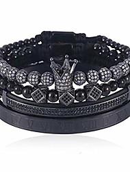 cheap -imperial crown king 18k gold cz beads bracelet luxury charm fashion bangle for men women