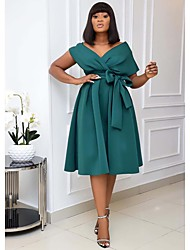 cheap -Women's A-Line Dress Knee Length Dress Short Sleeve Solid Color Patchwork Fall Spring Formal Sexy 2021 White Black Green S M L XL XXL 3XL