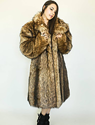 cheap -women's plus size full length faux-fur coat with hood - 1x, natural