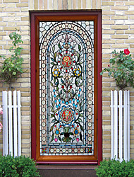 cheap -Creative Moroccan Imitation Glass Door Stickers Living Room Diy Decoration Home Waterproof Wall Stickers