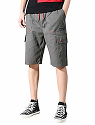 cheap -mens fashion outdoor shorts 9 inch inseam camouflage drawstring multi pockets cargo pants hiking beach trunks