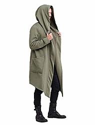 cheap -men's ruffle shawl collar cardigan outwear hooded long cape poncho trench coat green