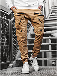 cheap -Men's Sporty Outdoor Slim Daily Pants Chinos Pants Solid Colored Full Length Pocket Drawstring Black Wine Khaki / Elasticity