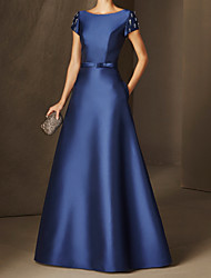 cheap -A-Line Elegant Beautiful Back Wedding Guest Formal Evening Dress Boat Neck Short Sleeve Floor Length Satin with Sleek 2020