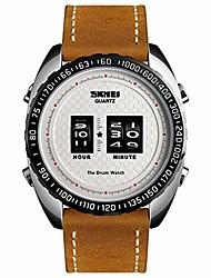 cheap -mens fashion watch 30m waterproof watch roller movement wheel digital dial leather band dress luxury wristwatch
