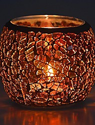 cheap -scented candle holder mosaic glass tea light holder,handmade romantic glass tealight candle holder for aromatherapy,party décor(no candles),also used as vase,pen holder,potted plants bowl (amber)
