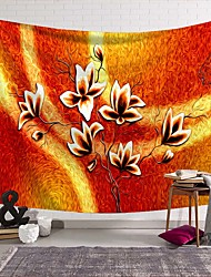 cheap -Wall Tapestry Art Deco Blanket Curtain Picnic Table Cloth Hanging Home Bedroom Living Room Dormitory Decoration Polyester Fiber Novelty Modern Oil Painting Orange Red Flower