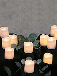 cheap -12pcs Tea Light Flameless Candles for Christmas Party Wedding Valentine's Day Holidays Date Proposal Decoration Button Battery Powered