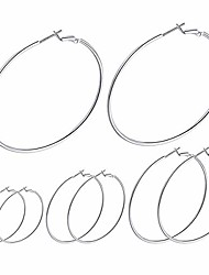 cheap -3 pairs sterling silver hoop earrings| white gold plated silver hoop earrings| large hoop earrings for women girls(50/60/70mm)