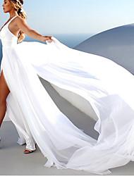 cheap -A-Line Wedding Dresses V Neck Court Train Chiffon Sleeveless Beach with Split Front 2021