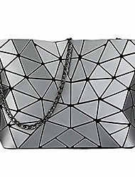 cheap -women's fashion geometric lattice shoulder bag, pu leather casual cross-body messenger bag for girls (silver)