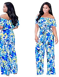 cheap -summer wide leg long pants strapless jumpsuits for women casual floral print rompers blue xl