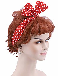 cheap -wig + hairband + earrings 50's housewife wig for women (brown)