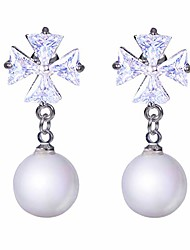 cheap -classical crystal freshwater pearl dangle earrings 14k gold plated sterling silver cuff earrings huggie stud