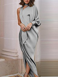 cheap -Women's Sheath Dress Maxi long Dress Gray Gold Red Long Sleeve Solid Color Plus High Low Fall Spring One Shoulder Elegant Formal Party Going out Loose 2021 S M L XL