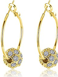 cheap -bemi romantic gold/silver/rose gold plated polishing micro inlay rhinestone ball hoop earrings for woman silver bead