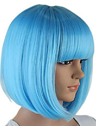 cheap -cool summer dark purple bob wigs for kick-ass 2 hit girl and a wig cap, short straight flat bangs, sexy stylish cosplay party hair wigs, 3dpr