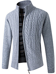 cheap -Men's Knitted Solid Color Cardigan Sweater Long Sleeve Sweater Cardigans Stand Collar Fall Winter Blue Wine Light gray