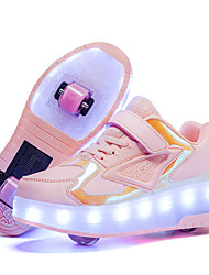 cheap -Boys' Trainers Athletic Shoes LED Shoes USB Charging PU Light Up Shoes Little Kids(4-7ys) Big Kids(7years +) Daily Walking Shoes LED White Pink Orange Fall Spring