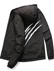 cheap -Men's Trench Coat Parka N / A Polyester Three bars gray / Three bars white / Three bars blue M / L / XL