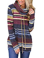 cheap -women autumn casual striped sweatshirt long sleeve drawstring pullover fashion sweatshirts