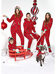 cheap -Family Look Family Matching Outfits Clothing Set Graphic Long Sleeve Print Red Christmas