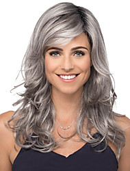cheap -Synthetic Wig Curly Natural Straight Asymmetrical With Bangs Wig Blonde Medium Length Light Blonde Silver grey Blonde Synthetic Hair Women's Classic Wedding Exquisite Silver Blonde