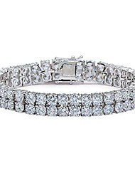 """cheap -2 rows aaa gold silver iced out tennis bling lab simulated diamond bracelet 8"""" (silver)"""
