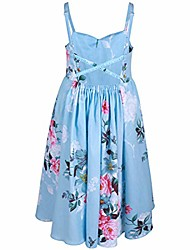 cheap -floral little girls dress casual cotton sleeveless sundress for kids(2 years old, blue)