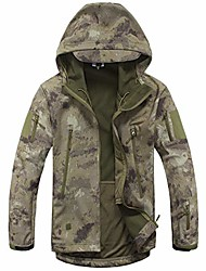 cheap -outdoor hooded jacket,men's tactical army coat lightweight camouflage softshell waterproof hunting softshell fleece jacket,suitable for hiking, hunting, fishing, etc