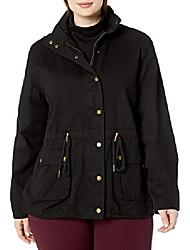 cheap -women's plus size block colour jacket with drawcord detail, black, 16