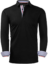 cheap -mens mercerized cotton long sleeve solid dress polo shirts classic fit black