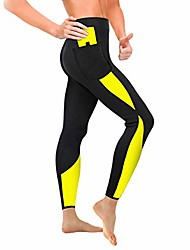 cheap -women sauna weight loss slimming neoprene pants with side pocket hot thermo fat burning sweat leggings (black-yellow, 2xl) (renewed)