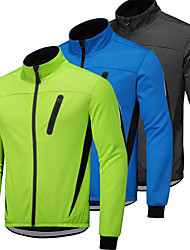 cheap -Men's Cycling Jacket Winter Long Sleeve Fleece Coat  Bike Jacket Winter Top Fleece Lining Thermal Warm Windproof Waterproof Breathable Quick Dry Sports Polka Mountain Bike MTB Clothing Bike Wear