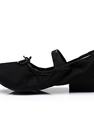 cheap -Women's Ballet Shoes Heel Thick Heel White Black Red Elastic Band Adults'